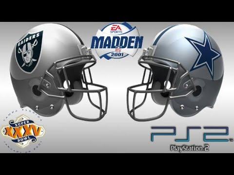 Madden 2001 PS2 Gameplay: Super Bowl XXXV Dallas Cowboys 29 Oakland Raiders 22