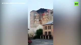 Обрушение части девятиэтажного дома в Молдавии попало на видео