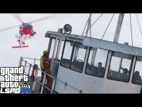 GTA 5 LSPDFR Coastal Callouts | Coast Guard Helicopter Rescues 6 Victims On A Sinking Boat | USCG