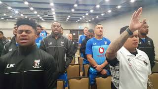 Vodafone Fiji Bati in fine voice and demonstrating thier faith in the lead up to the Pacific Test