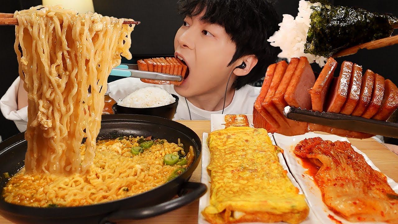 ASMR MUKBANG | 직접 만든 진라면 계란말이 치즈 스팸 김치 김 먹방 & 레시피 FIRE NOODLES AND CHEESE SPAM EATING