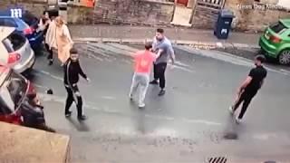 Shocking CCTV footage shows violent road rage mass brawl