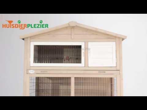 Huisdierplezier.nl | Konijnenhok Gipsy cottage taupe | Konijnenhok bouwen
