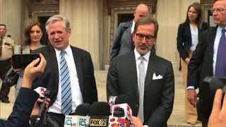 Defense team for Gov. Eric Greitens makes a statement after invasion of privacy charge dismissed