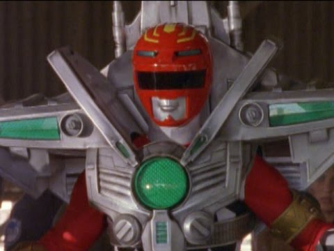 Power Rangers Lost Galaxy - Red Ranger Battlizer Morph and Fight (Facing the Past Episode)