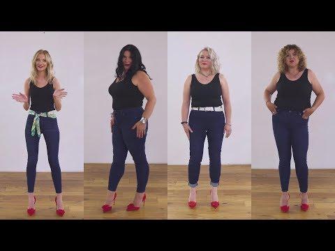 От XS до XXL: разные девушки примеряют джинсы одной модели