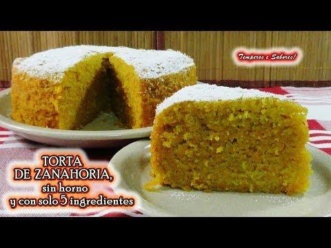 TORTA DE ZANAHORIA, SIN HORNO y con solo 5 ingredientes