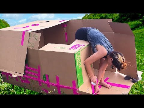 BUILDING A BOX FORT IN THE FOREST