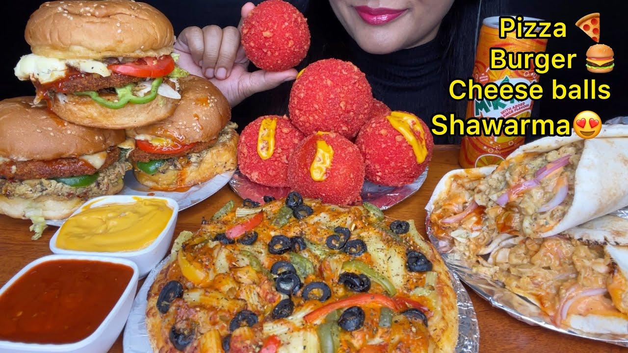 ASMR:EATING CHEETOS CHEESE BALLS,CHICKEN BURGER,PASTA PIZZA & SHAWARMA(FASTFOOD) FOOD EATING SHOW
