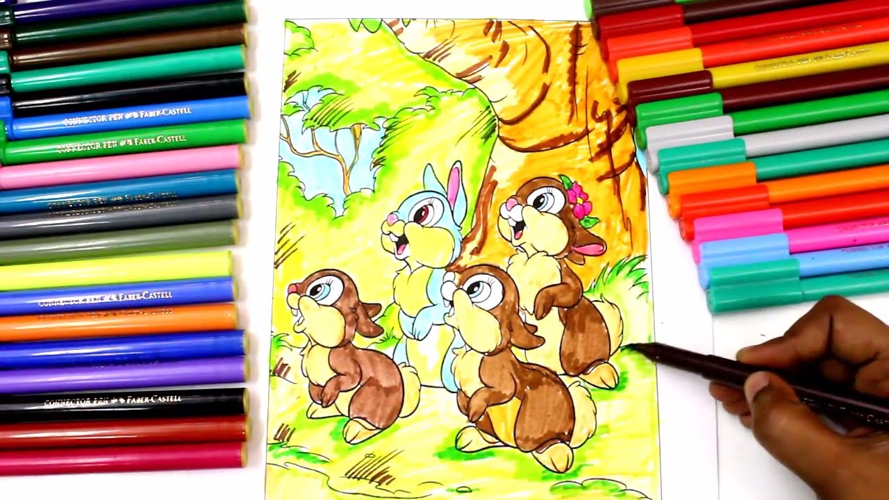 Colouring Bunny Rabbits Cute Animals Pages For Kids