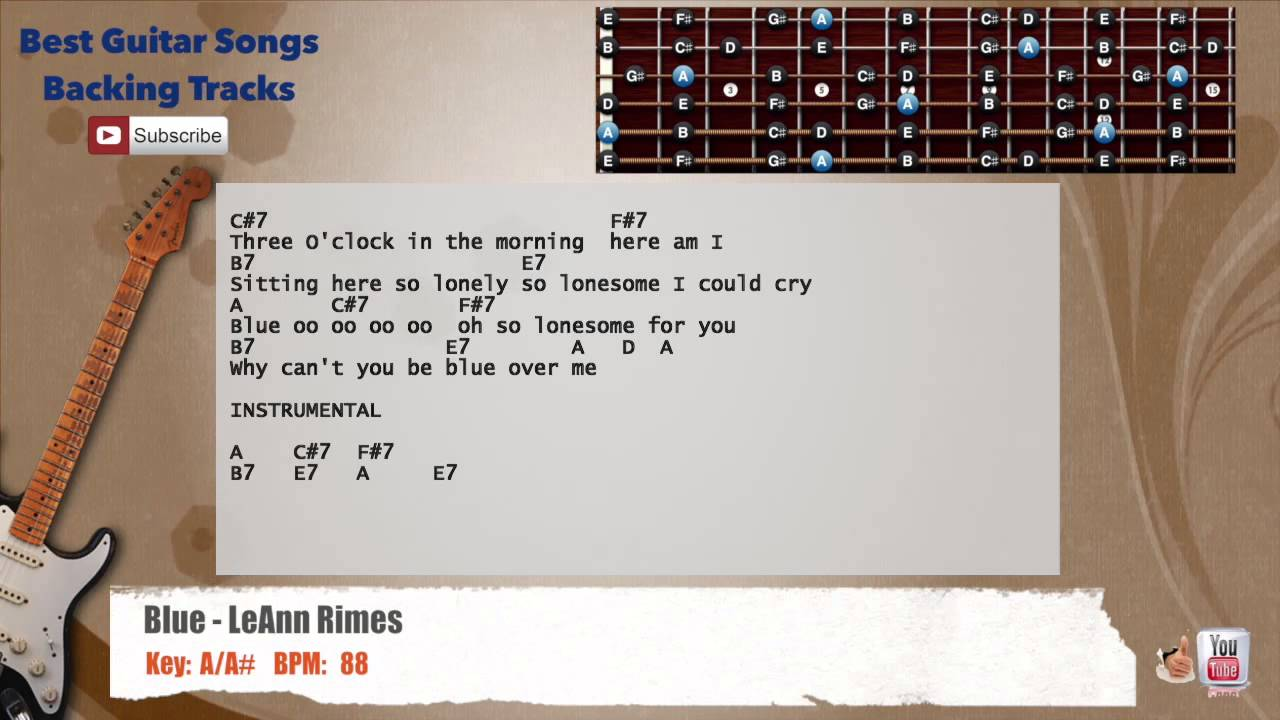 Blue Leann Rimes Guitar Backing Track With Scale Chords And