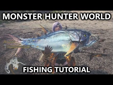 Monster Hunter World - Fishing Tutorial (Rod & Net) - Piscine Researcher - Angling for a Bite
