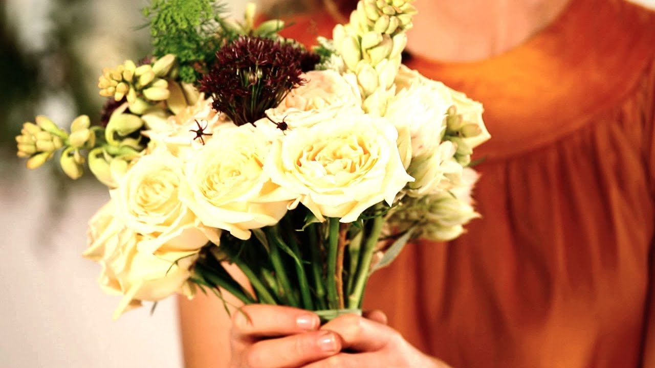 How to tape trim a bridal bouquet wedding flowers youtube izmirmasajfo