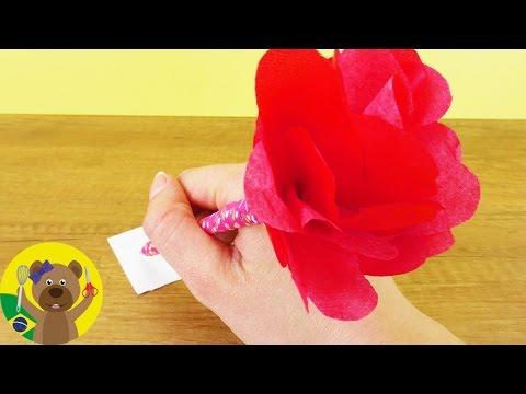 Lápis de Rosa - Como fazer um lápis decorado com flor de papel