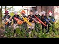 Gugu Films Nerf War : Warrior Group CID Dragon Nerf Guns Fight Criminal Group Polo Mask Run Away