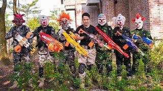 Gugu Films Nerf War : Warrior Group CID Dragon Nerf Guns Fight Criminal Group Polo Mask Run Away