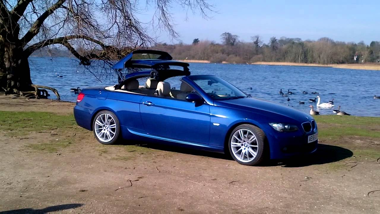 Bmw 335i Convertible >> BMW E93 Convertible Roof Down Le Man's Blue - YouTube