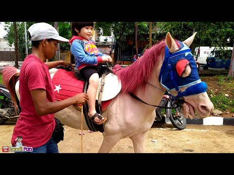 KIDS HORSEBACK🌈Beautiful Horse Riding Entertainment for kids🦄Ride a horse || kids play with horses