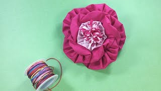 Flor grande de fuxico – flor de tecido passo a passo – fuxico