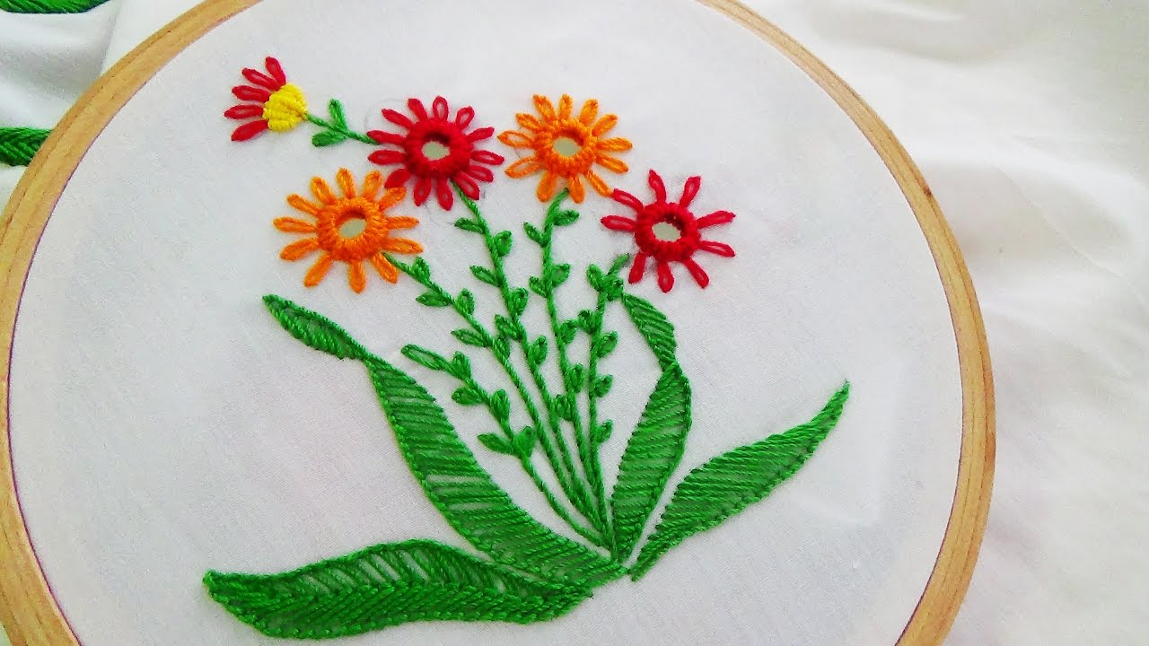 Hand embroidery mirror work variation youtube