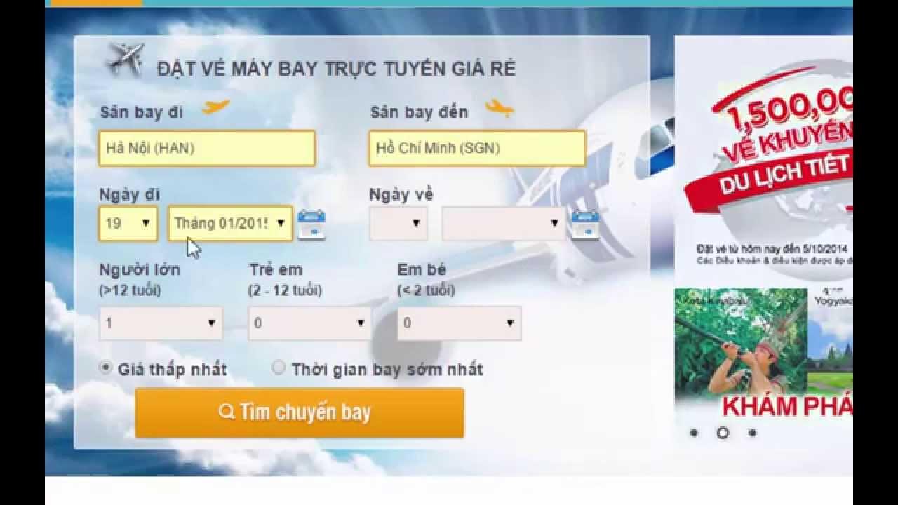 Hướng dẫn đặt mua vé máy bay giá rẻ trực tuyến tại OneBay.Vn