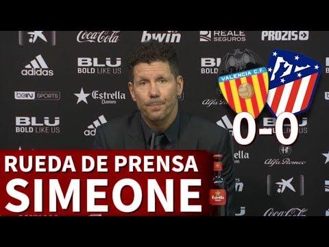 Valencia 0-0 Atlético de Madrid | Rueda de prensa de Simeone | Diario AS