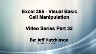 Excel 365 Visual Basic Part 32…