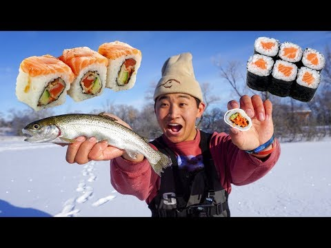 Ice Fishing Trout CATCH CLEAN COOK! (Fresh Wild Sushi)