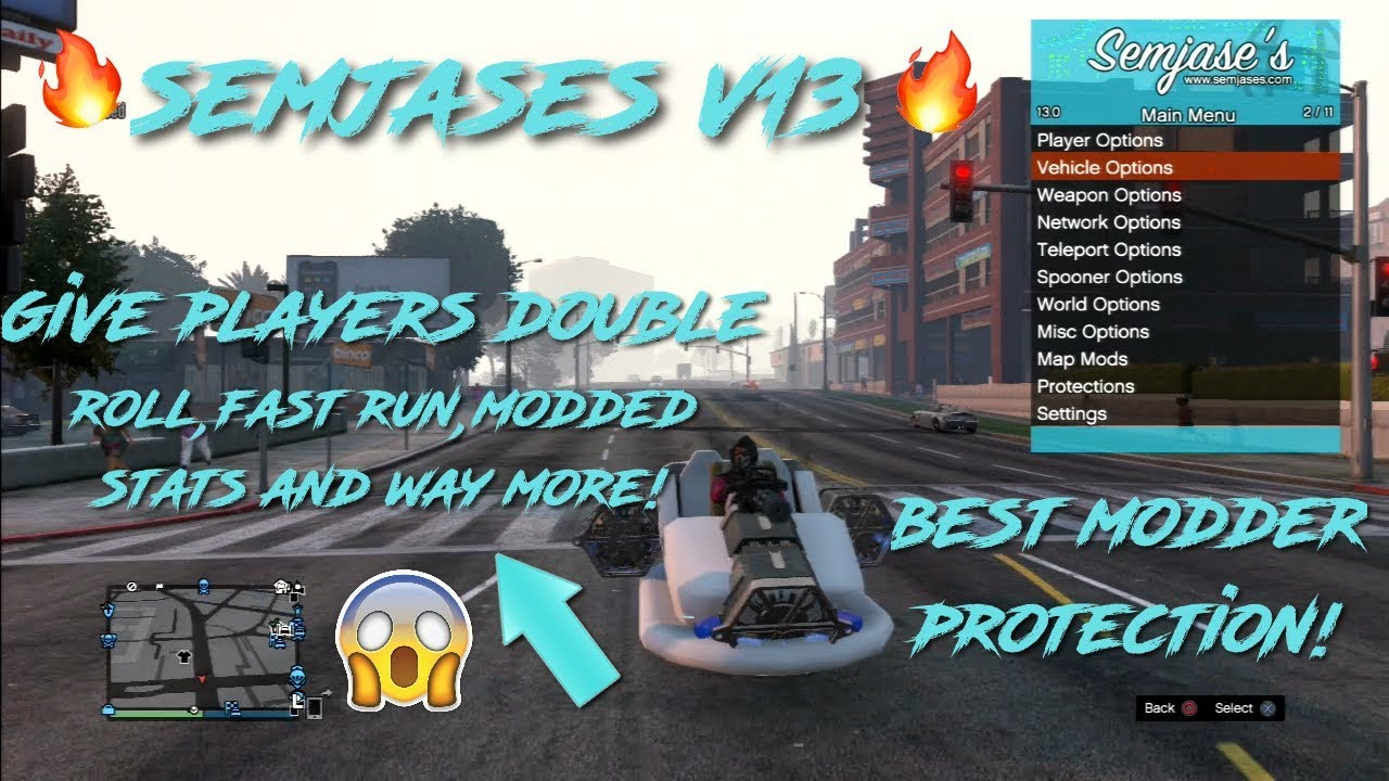 Gta 5 SEMJASES V13 MOD MENU UPDATE!(IMPROVED MODDER PROTECTION,BAN  PLAYERS,GIVE MODDED STATS)+MORE!
