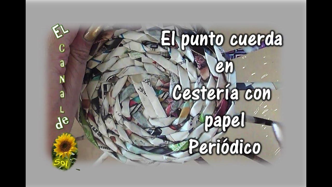 El punto cuerda en cester a con papel peri dico string - Cesteria con papel periodico paso a paso ...
