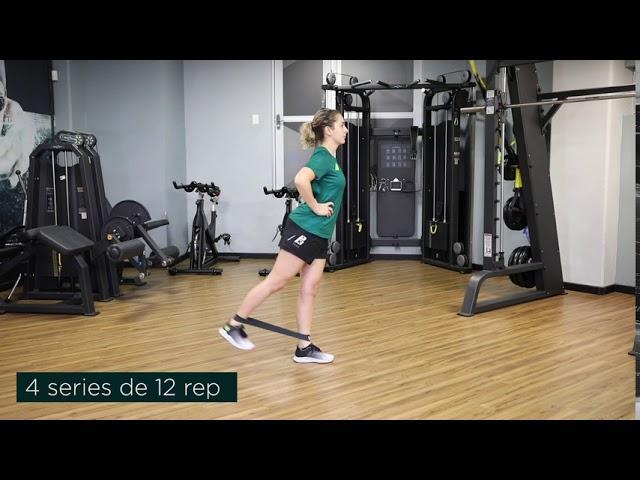 Extension de cadera unipodal con caucho