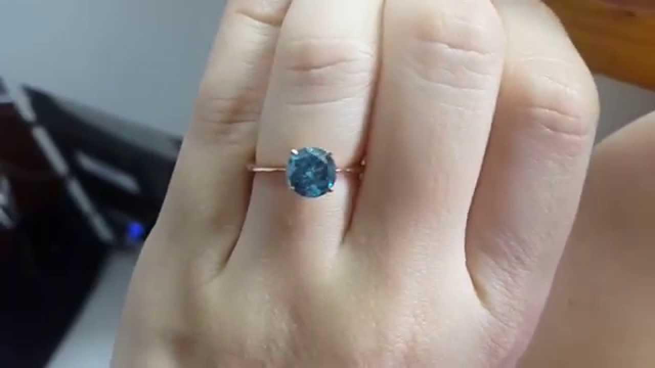 Lovely 1.52 Carat SI1 Ocean Vivid Blue Diamond 14K Rose Gold Solitaire  AI81