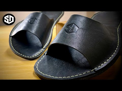 [SD Leather] Тапочки из кожи. Ручная работа. Выкройка [Free Pattern] - Slippers - Handmade [DIY]