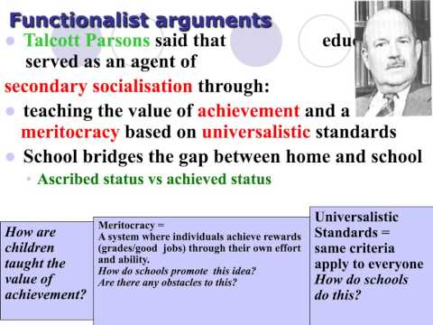 functionalist view of the role of education