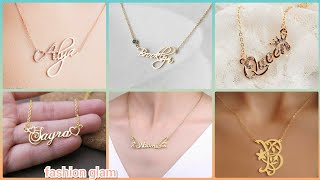 personalized signature gold infinity name pendant necklace set design/script name necklace screenshot 3