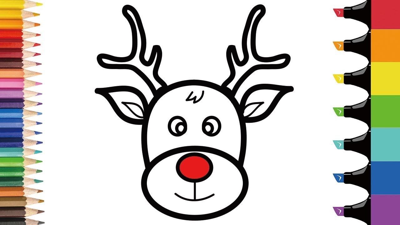 How to draw Rudolph step by step | Easy Christmas coloring ...