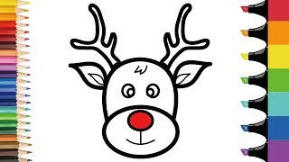 How to draw Rudolph step by step | Easy Christmas coloring pages for toddlers