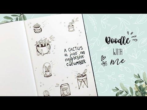Cactus Doodles tekenen - Draw With Me Nederlands   CreaChick