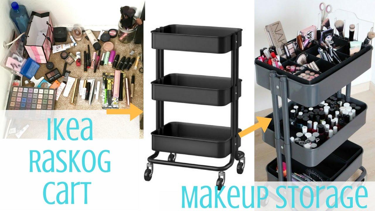 Ikea Hack Ikea Raskog Cart Makeup Storage Tommie Dooley Youtube