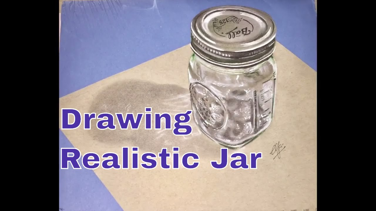 How To Draw Realistic Jar Bottle 3d Art Youtube