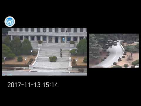 CCTV footage of North Korean defector at Panmunjeom