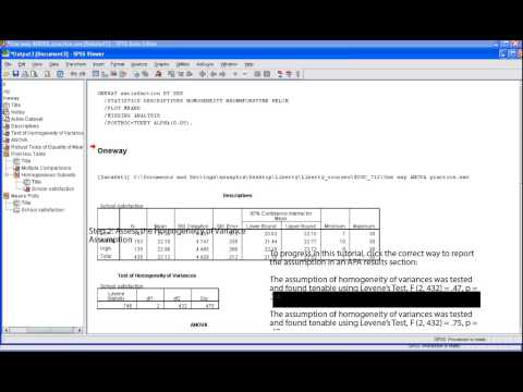 SPSS Tutorial: One Way ANOVA