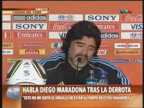 Argentina Vs Germany [0-4] Maradona Press Conference 2010