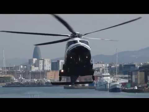 Agusta-Westland AW139 T7-LSS landing in Port de Barcelona Heliport (LEPB)