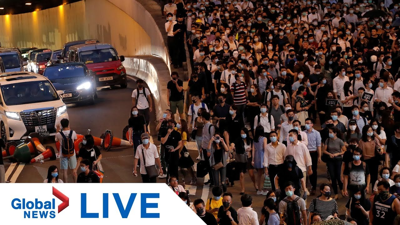 Hong Kong protests: Police arrive to disperse hundreds rallying against anti-mask law | LIVE