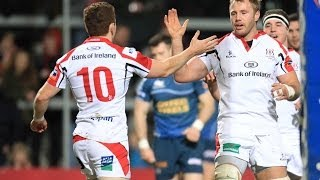 Paddy Jackson collects his own kick ahead for super try - Ulster v Scarlets 14th March 2014