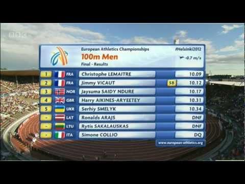 100m Final Men - Controversy in European Champs 2012