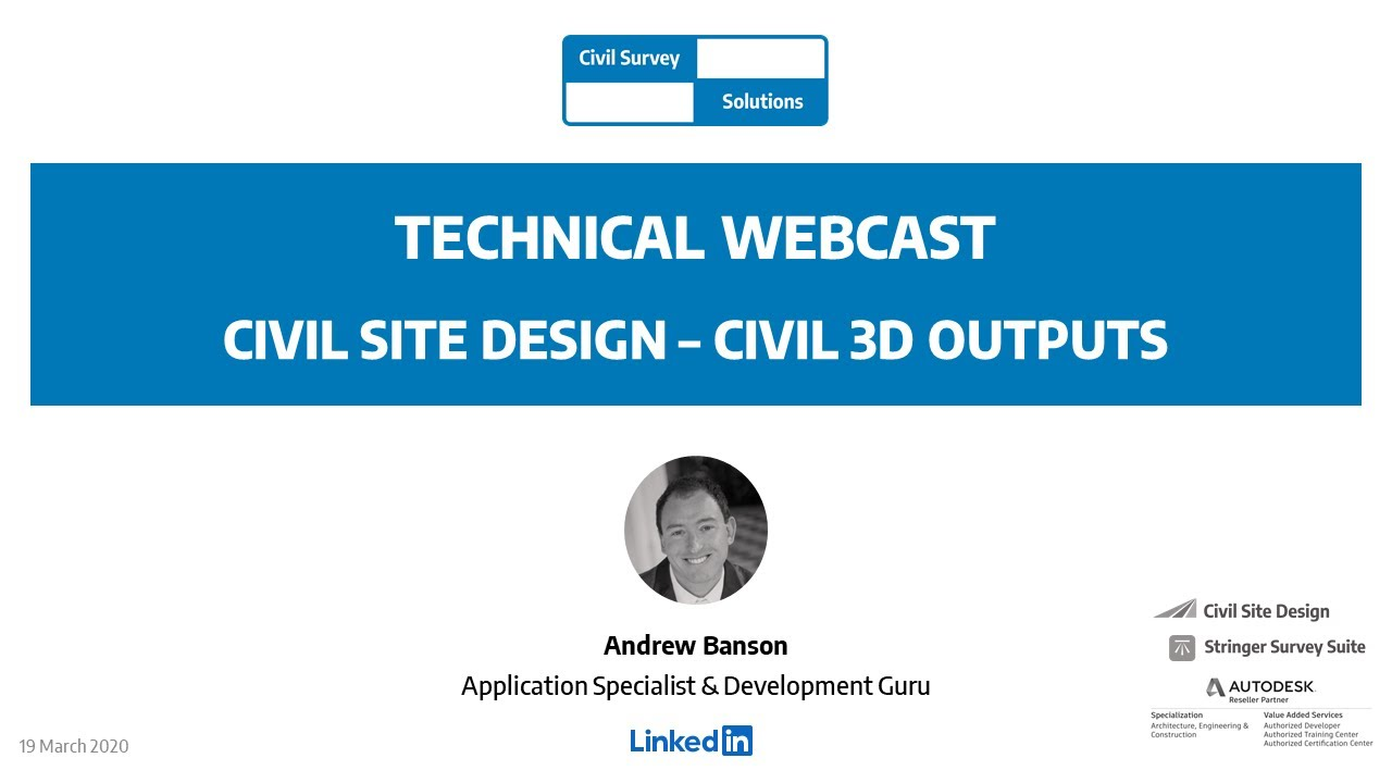 Civil Survey Solutions Webcast Civil Site Design Civil 3d Outputs Youtube