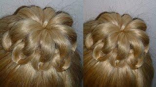 Причёски для средних, длинных волос.Причёска Пучок из волос.Ажурный пучок с плетением(Ажурный, быстрый, красивый и простой Пучок из волос без бублика. Причёска подойдёт на средние, длинные воло..., 2014-11-15T11:16:19.000Z)