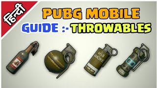Guide :- Throwables pubg mobile Hindi | How to use grenades in pubg mobile | best grenade | Hindi